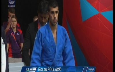 Israeli judoka Golan Pollack at the 2012 Olympic Games. (photo credit: Image capture from Channel 1)
