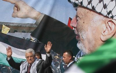 Mahmoud Abbas, président de l'Autorité palestinienne, commémore la mort de Yasser Arafat, en novembre 2008. (Crédit : Issam Rimawi/Flash90)
