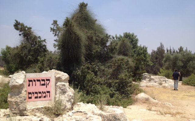 """The site known as the """"Maccabees' graves"""" contains pagan or Christian graves hewed into bedrock centuries after the time of the Maccabees (photo credit: Matti Friedman/Times of Israel)"""