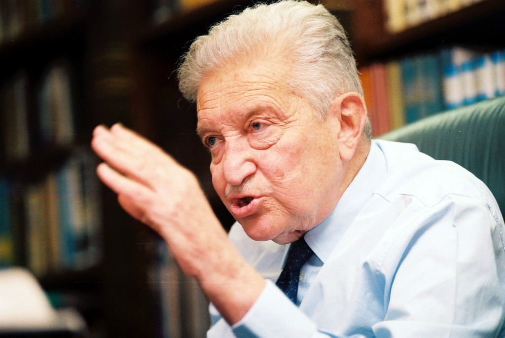 President Ezer Weizman during a 1998 interview in his Jerusalem residence (photo credit: Flash90)