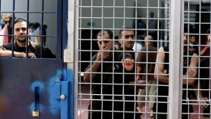 Security prisoners in Ofer Prison, Israel (photo credit: Moshe Shai/FLASH90)