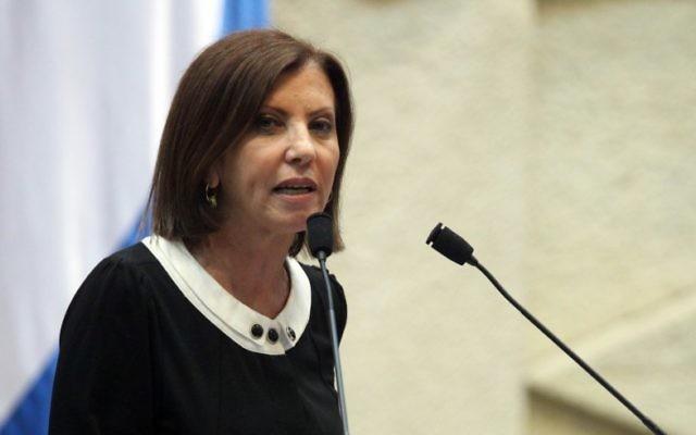 Zehava Galon, présidente du parti Meretz, à la Knesset en 2011. (Crédit : Abir Sultan/Flash 90)