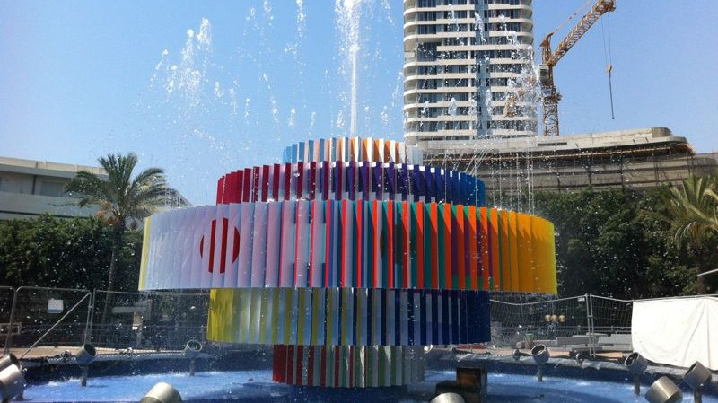 Yaacov Agam's iconic fountain in Dizengoff Square in Tel Aviv (photo credit: Michal Dahan)
