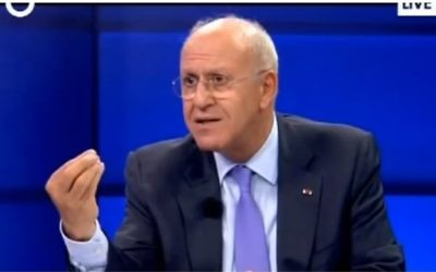 L'ancien ministre libanais des Renseignements, Michel Samaha (Crédit : capture d'écran YouTube)