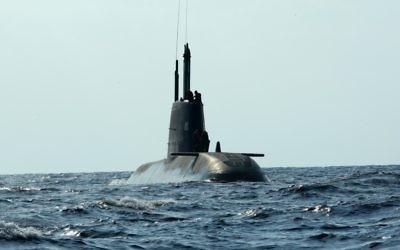 Un sous-marin israélien de type Dolphin. Illustration. (Crédit : Moshe Shai/Flash90)