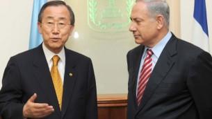 Prime Minister Benjamin Netanyahu meets UN Secretary-General Ban Ki-moon, in the Prime Minister's Office in Jerusalem, March 20, 2010. (photo credit: Moshe Milner/GPO/Flash90)