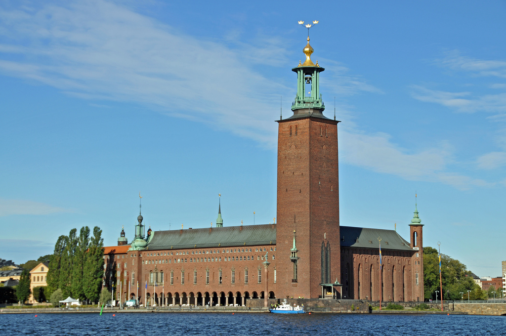 Stockholm City Hall where Nobel Prizes are traditionally presented at an annual ceremony. (photo credit: Flickr/archer10 Dennis)
