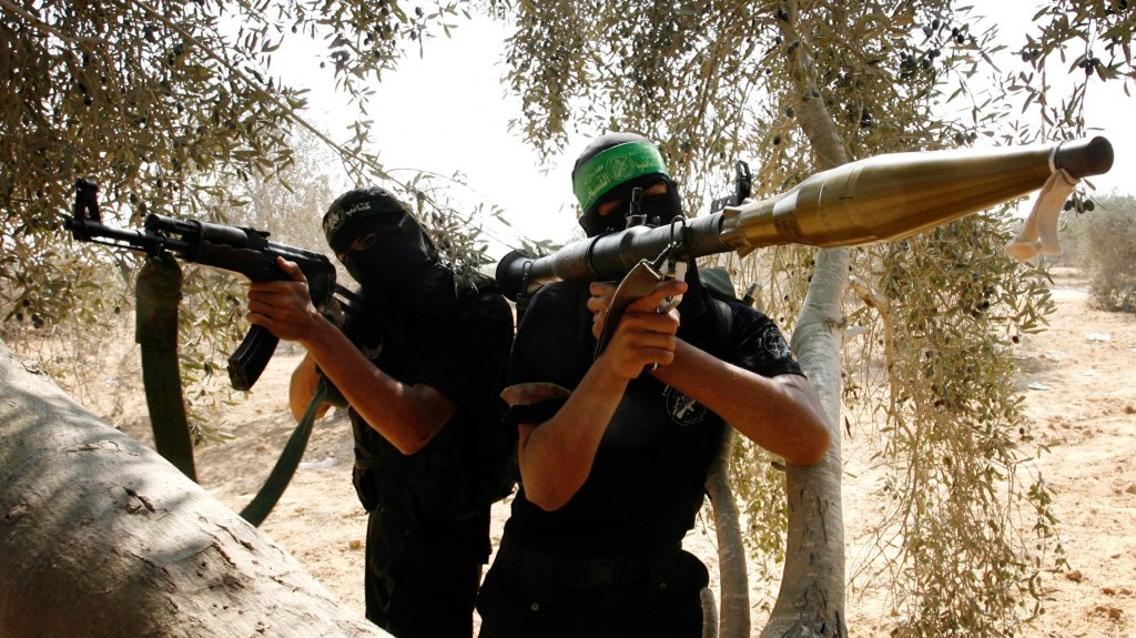 Palestinians from the Izz ad-Din al-Qassam brigade of the military wing of Hamas during a training session in Rafah in the southern Gaza Strip on Thursday (photo credit: Abed Rahim Khatib/Flash90)
