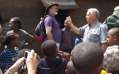 Noam Zion (center, with a hat) in Ethiopia (photo credit: courtesy Hartman Institute)