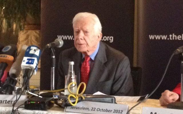 Jimmy Carter à Jérusalem en 2012 (Crédit : Raphael Ahren/The Times of Israel)