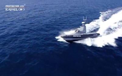 Illustration d'un bateau de surveillance développé par Rafael (Crédit : Youtube screen capture)