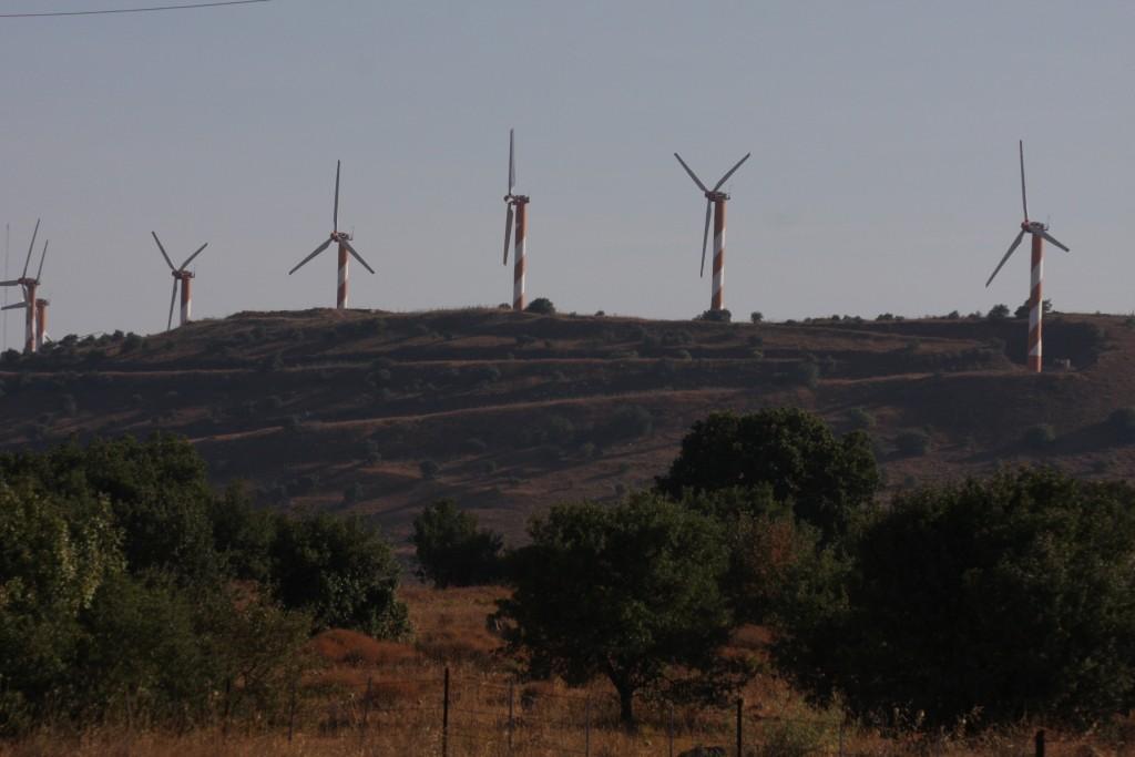 Power generating wind turbines in the Golan Heights next to moshav Alonei Habashan in 2008 (photo credit: Yossi Zamir/Flash90)
