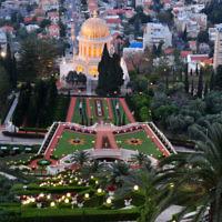 Le temple Bahai et ses jardins à Haifa (Crédit : Shay Levy/ Flash90)