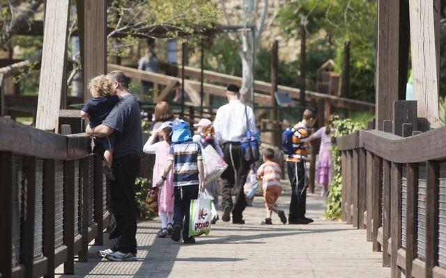 Illustration : des touristes au zoo biblique de Jérusalem. (Crédit: Yonatan Sindel/Flash90)