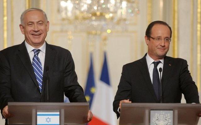 Benjamin Netanyahu rencontre Francois Hollande à Paris, 31 octobre 2012 (Crédit : Avi Ohayon/Flash 90)