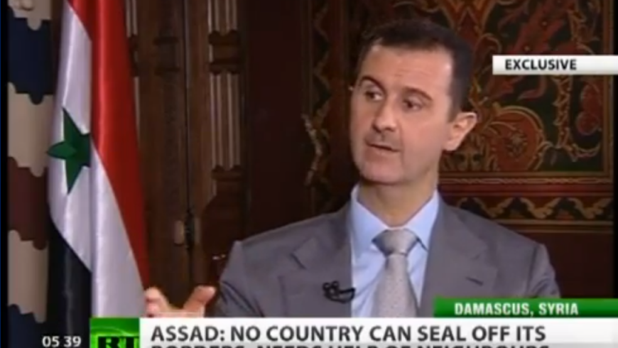 Syrian President Bashar Assad in an interview with Russia Today last month (photo credit: screenshot from YouTube, Russia Today)