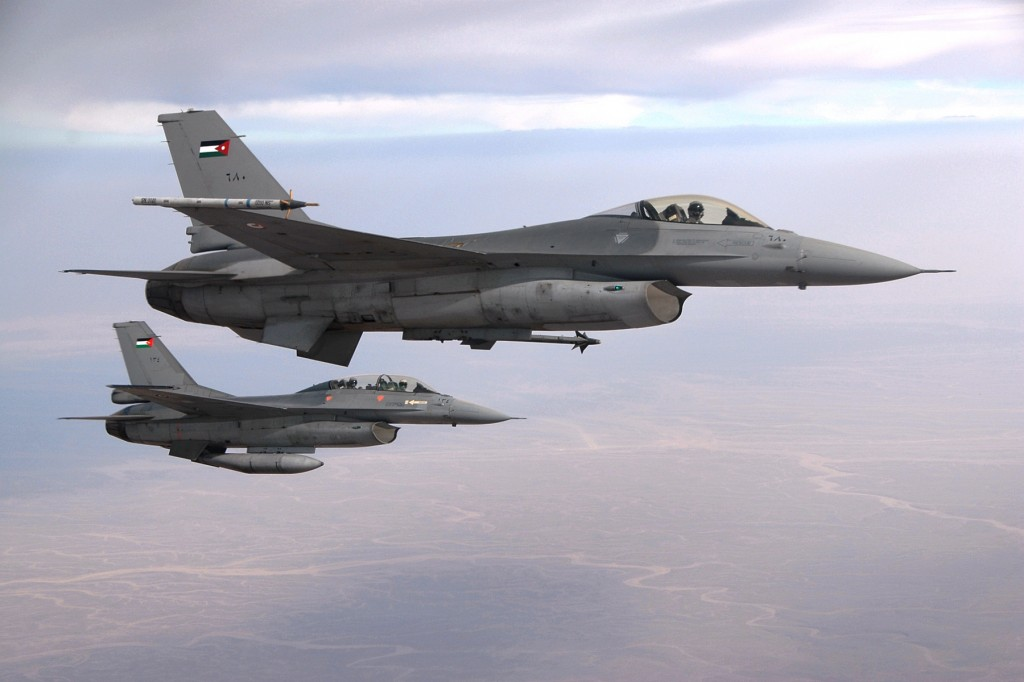 Two F-16 Royal Jordanian Air Force jets (photo credit: CC BY-SA 3.0, by Caycee Cook, US Air Force, Wikimedia Commons)