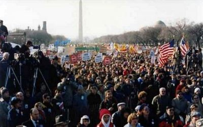 On the eve of Mikhail Gorbachev's first visit to the US in 1987, 250,000 people marched on Washington demanding freedom for Soviet Jews (photo credit: Courtesy Joshua Hammerman)
