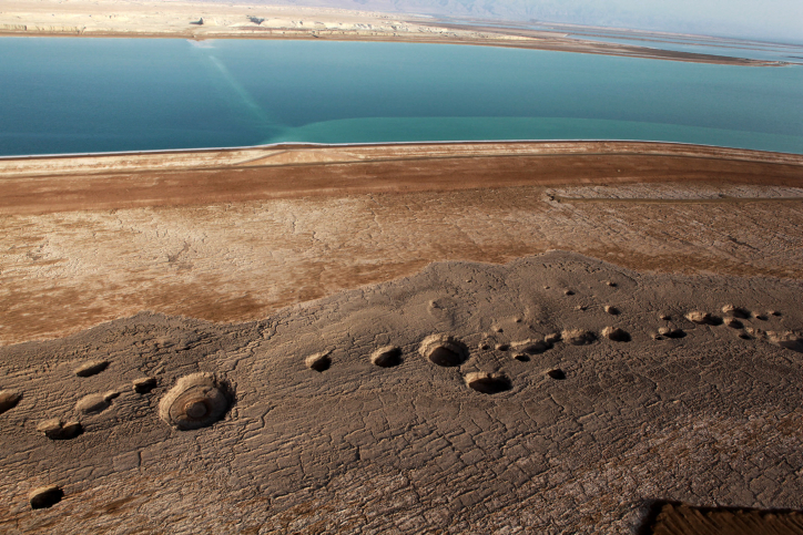 Aerial view of sinkholes on the Dead Sea shoreline, September 30, 2010 (photo credit:Yuval Nadel/Flash90)