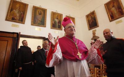Mgr Fouad Twal, le patriarche latin de Jérusalem - 24 décembre 2012 (Crédit : Miriam Alster/Flash90)