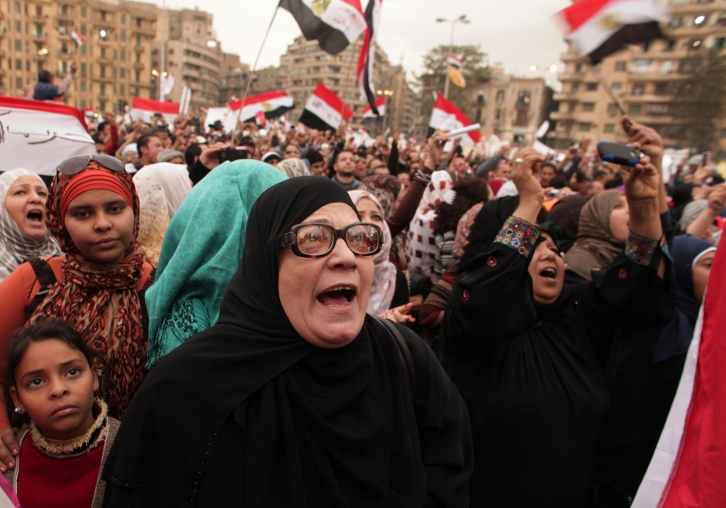 Protesters chant slogans in Tahrir Square in Cairo, Egypt, on Tuesday, December 4, 2012. (photo credit: AP Photo/Maya Alleruzzo)