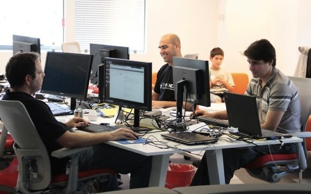 Entrepreneurs work at the Microsoft Azure accelerator in Herzliya (Photo credit: Courtesy)