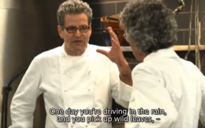 Celebrity chef Eyal Shani (left) gesticulates while waxing poetical about spinach. (photo credit: image capture from YouTube video uploaded by liatpov)