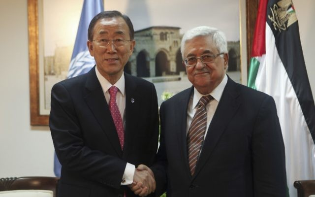 Palestinian president Mahmoud Abbas (R) meets with U.N. Secretary-General Ban Ki-moon in the West bank city of Ramallah on February 1, 2012 (photo credit: Fadi Arouri/Flash90)