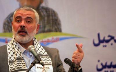 Ismail Haniyeh à Gaza (Crédit : Abd Rahim Khatib/Flash90)