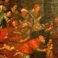 Détail d'une peinture représentant une accusation de meurtre rituel d'enfants chrétiens par des Juifs, dans l'église Saint-Paul de Sandomierz, en Pologne. (Domaine public, Wikimedia Commons)