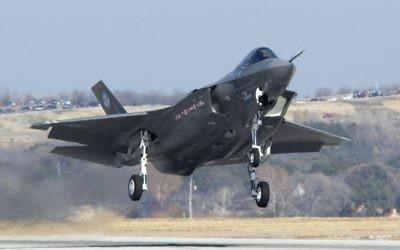Un F-35 durant un test de vol. (Crédit : Autorisation/Département de la Défense)