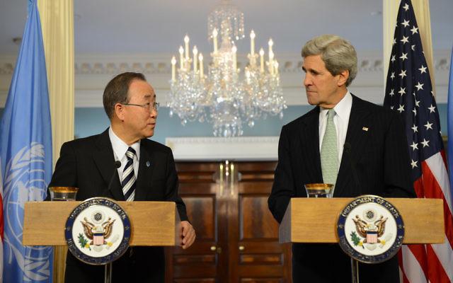 John Kerry (droite) et Ban Ki-moon à Washington (photo credit: US State Department)