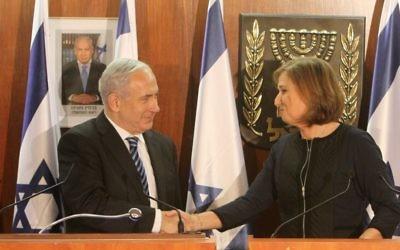 Benjamin Netanyahu et Tzipi Livni en 2013 (Crédit : Miriam Alster/Flash90)