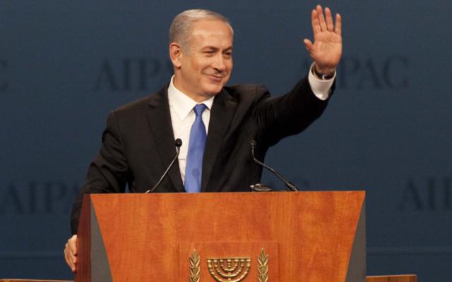 Le Premier ministre israélien Benjamin Netanyahu à la conférence de l'AIPAC (Crédit : Amos Ben Gershom/GPO/FLASH90)