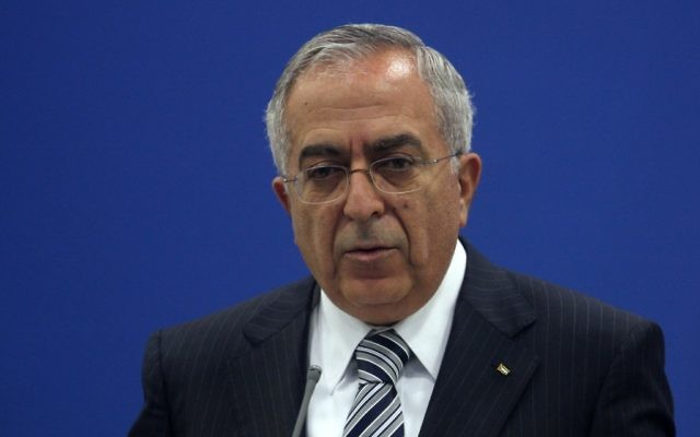 Salam Fayyad, ancien Premier ministre de l'Autorité palestinienne, en 2012. (Crédit : Issam Rimawi/Flash90)