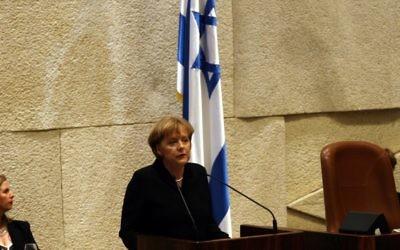 Angela Merkel à la Knesset - 2008 (Crédit : Yossi Zamir/Flash90)