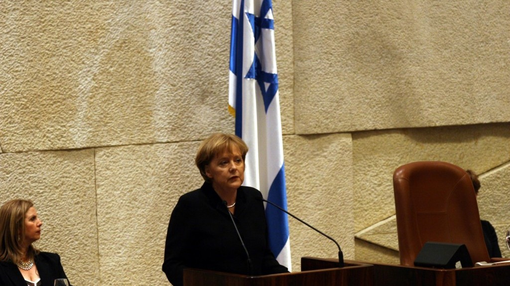 Angela Merkel adresses the Knesset in German, March 18, 2008 (photo credit: Yossi Zamir/Flash90)