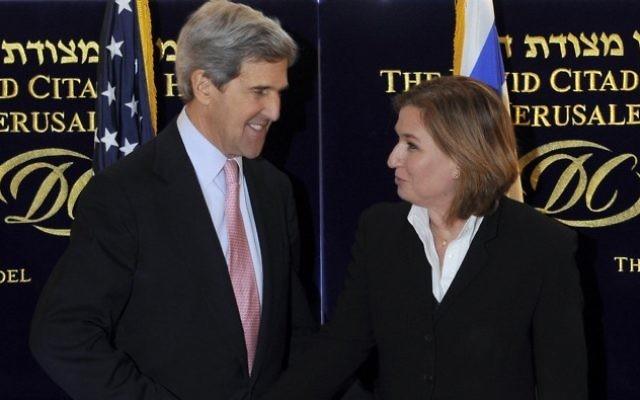 John Kerry et Tzipi Livni à Jérusalem en mars. (Crédit :  Matty Stern/US Embassy/Flash90)