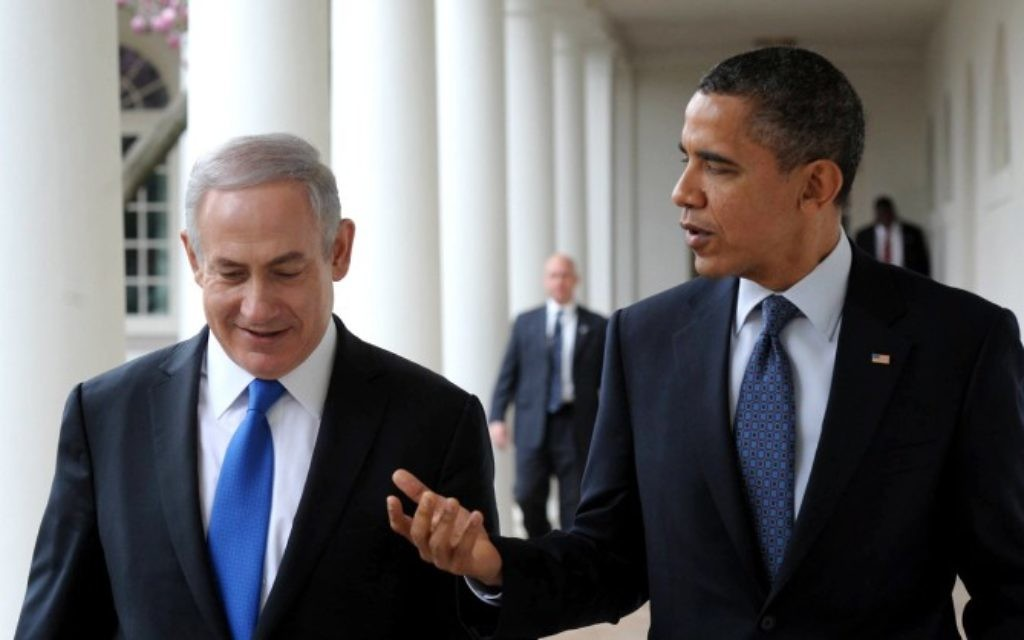 Le Premier ministre Benjamin Netanyahu et le président américain Barack Obama à la Maison Blanche, en 2012. (Crédit : Amos Ben Gershom/GPO/Flash90)