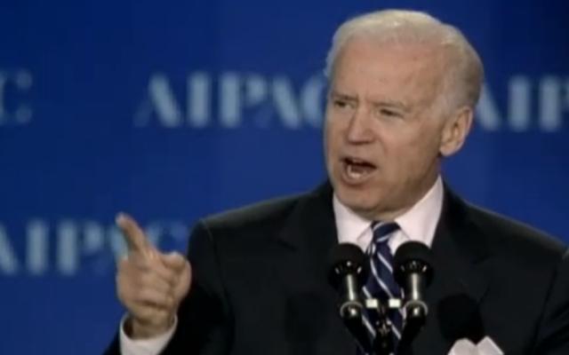 Joe Biden à l'AIPAC - 4 mars 2013 (Crédit : JLTV)