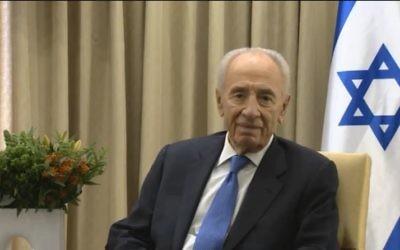 Président Shimon Peres (Crédit : capture d'écran Youtube/Peres)