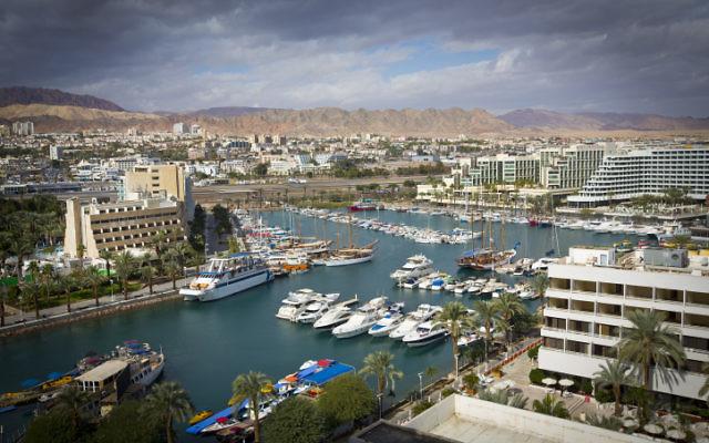 Vue panoramique de la ville d'Eilat, au sud d'Israël (Crédit: Moshe Shai/Flash90)