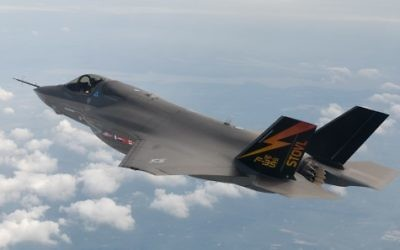 Un avion de chasse F-35 (Crédit : Liz Kaszynski/Flash90)