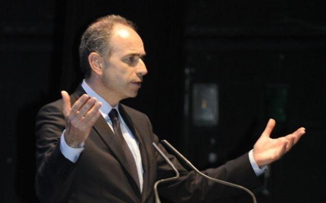 French opposition leader Jean-François Copé speaking in Tel Aviv, April 17, 2013 (photo credit: DR)
