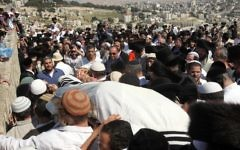 The funeral of Ben-Yosef Livnat, killed by Palestinians near Nablus, April 2011. (photo credit: Yossi Zamir/Flash90)