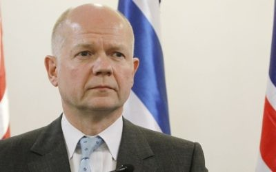 William Hague (Crédit : Miriam Alster/Flash90/File)