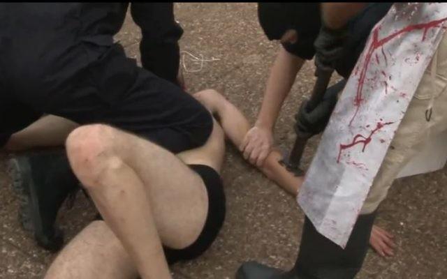 Un militant israélien pour les droits des animaux est marqué à Tel Aviv, par solidarité avec le bétail. Illustration. (Crédit : capture d'écran YouTube/269lifecom)