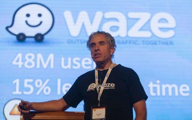 Le cofondateur de Waze, Uri Levine, pendant une conférence à Jérusalem en mai 2013. (Crédit : Flash90)