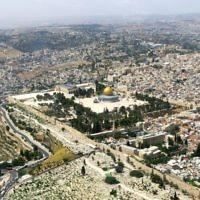 Vue aérienne de Jérusalem. Illustration. (Crédit : Qanta Ahmed)