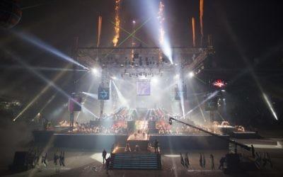 Cérémonie d'ouverture des Maccabiades, au stade Teddy de Jérusalem, le 18 juillet 2013. (Crédit : Yonatan Sindel/Flash90)